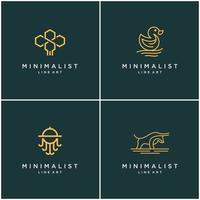 verzameling van minimalistische ontwerplijnen voor dierenlogo's, bij, stier, eend en octopus. abstract vector ontwerp logo's.