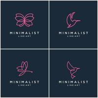 verzameling minimalistische dierenlogo-ontwerplijnen, vlinder en kolibrie. abstract vector ontwerp logo's.