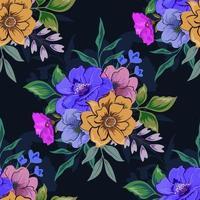 kleurrijk botanisch naadloos bloemenpatroon op donkere achtergrond.