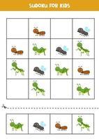 Sudoku-spel met schattige insecten. voor kinderen. vector