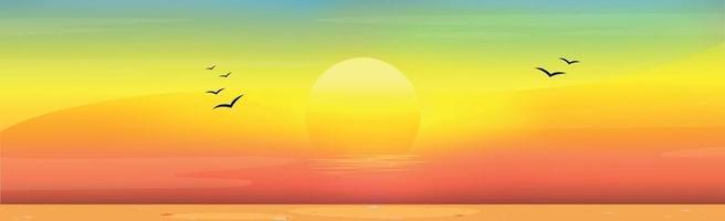 illustratie van een zonnig zandstrand bij zonsondergang
