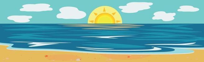 illustratie zonnig zandstrand en blauwe zee