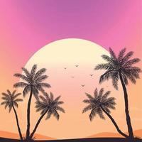 zonsondergang op het strand met palmbomen vector