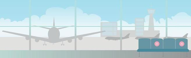 sociale afstand en rijstrookmarkeringen op een grote luchthaven vector