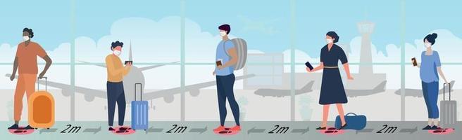 een grote rij mensen in het luchthavengebouw wachtend op instappen vector