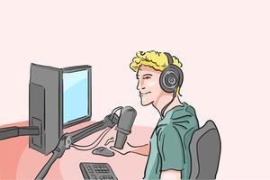 streamer met apparaten voor streaming, professionele gamer-speelgame online, influencer live podcasting online, programmeurvergadering met chat, inhoud voor bijdrager, platte vectorillustratie