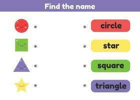 zoek de naam. bijpassende game. geometrische figuur. werkblad voor kinderen, kleuterschool, voorschoolse en leerplichtige leeftijd. vector