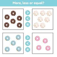 meer, minder of gelijk. educatief wiskundig spel voor kinderen in de voorschoolse en leerplichtige leeftijd. donuts. vector