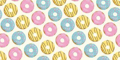 naadloze patroon met kleur donuts. roze, geel, blauw glazuur. vector