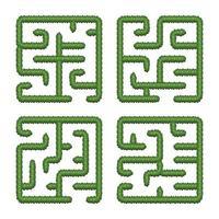 stel educatieve logica-spellen bush-labyrinten voor kinderen in. vind de juiste weg. geïsoleerde eenvoudige vierkante doolhoven op witte achtergrond. vector