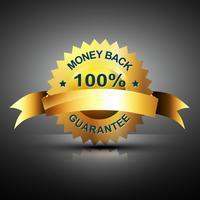 monet terug garantie pictogram in gouden kleur