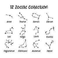 12 sterrenbeelden. studie van de positie van de hemellichamen van verschillende sterrenbeelden vector