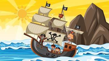 oceaan met piratenschip bij zonsondergangscène in cartoonstijl vector