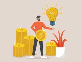 succesvolle zakenman heeft een idee met een gouden munt in zijn hand vector