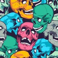 pop-art naadloos patroon met schedels vector