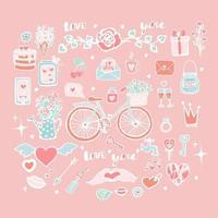 leuke set vectorobjecten voor Valentijnsdag, verzameling stickers voor Valentijnsdag, fiets met tulpen in een mand, cake met hartjes, slot met sleutel, rozen in een trechter, hand tekenen, doodle. vector