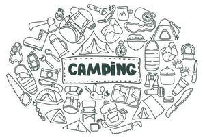 Camping en wandeluitrusting doodle pictogrammen instellen. set dingen die je nodig hebt tijdens het wandelen en trekken. hand getekend toerisme ingesteld voor briefkaart, banner, ontwerp. vector