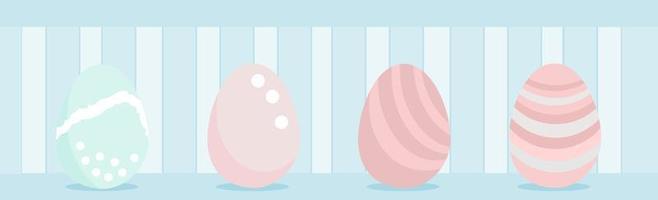 gelukkige paaseieren ingesteld voor wenskaart paasdag, grens, koptekst, website, sociaal vector