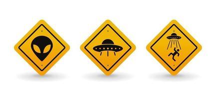 alien en ufo waarschuwing verkeersbord collectie set, vector illustratie