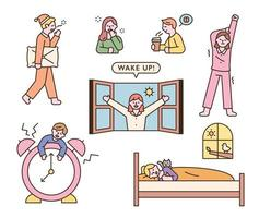 verschillende reacties van mensen die 's ochtends wakker worden. vector