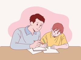 vader leert zijn zoon studeren.