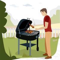 een man die een heerlijke barbecue voorbereidt vector