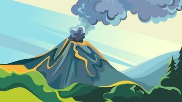 landschap met vulkaanuitbarsting. vector