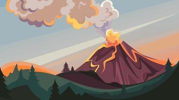 vulkaanuitbarsting in het wild. vector