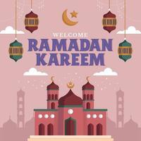 majestueuze paarse moskee tijdens ramadhan vector