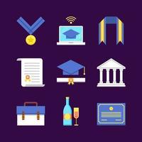 kleurrijke afstuderen icoon collectie vector