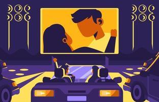 rustige nachtlampje rijden film vector