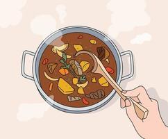 een hand die een Koreaanse traditionele stoofpot met een pollepel vasthoudt. hand getrokken stijl vector ontwerp illustraties.