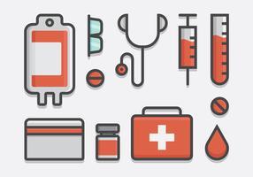 Bloedaandrijving en bloedtransfusie Icon Set in Lineart Style vector