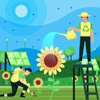 zonnebloem landbouw verhoogt het groene ecosysteemconcept vector