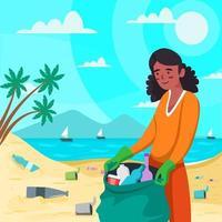 vrouw schoon strand van afval vector