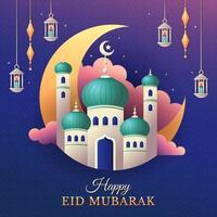 gelukkige eid mubarak-groet met moskee en lantaarns vector