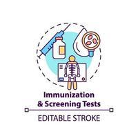 immunisatie en screening tests concept pictogram vector