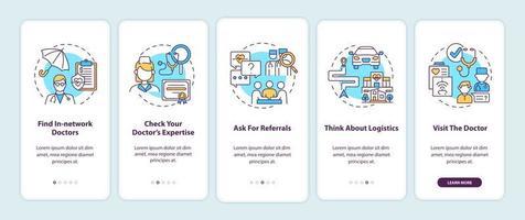 tips voor eerstelijnsarts kiezen onboarding mobiele app-paginascherm met concepten vector