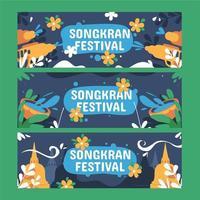 kleurrijke songkran festival banner set vector