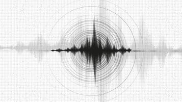 kracht van aardbevingsgolf met cirkeltrilling vector