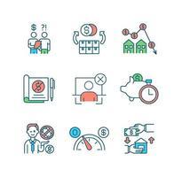 faillissement rgb kleur iconen set