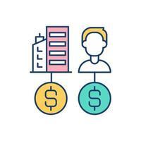 geld verdienen eigenschap RGB-kleur pictogram