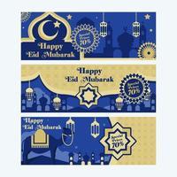 gelukkige eid mubarak set banners vector