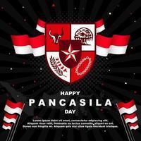 gelukkige pancasila-dag met zwarte achtergrond vector
