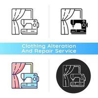 gordijn naaien en wijziging zwart lineair pictogram
