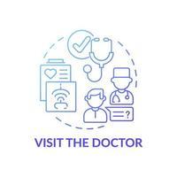 bezoek het pictogram van het concept van de arts blauwe kleurovergang