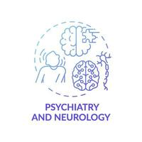 psychiatrie en neurologie blauwe kleurovergang concept pictogram vector