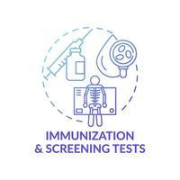 immunisatie en screening tests blauw kleurverloop concept pictogram vector