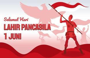 hari pancasila indonesisch stichting patriottisch achtergrondontwerp vector