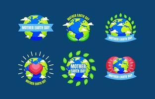 moeder aarde dag badge vector